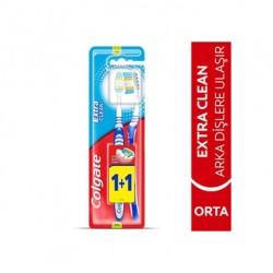 Colgate Diş Fırçası Extra Clean Dil Temizleyicili Arka Dişlere Uzanan 1+1
